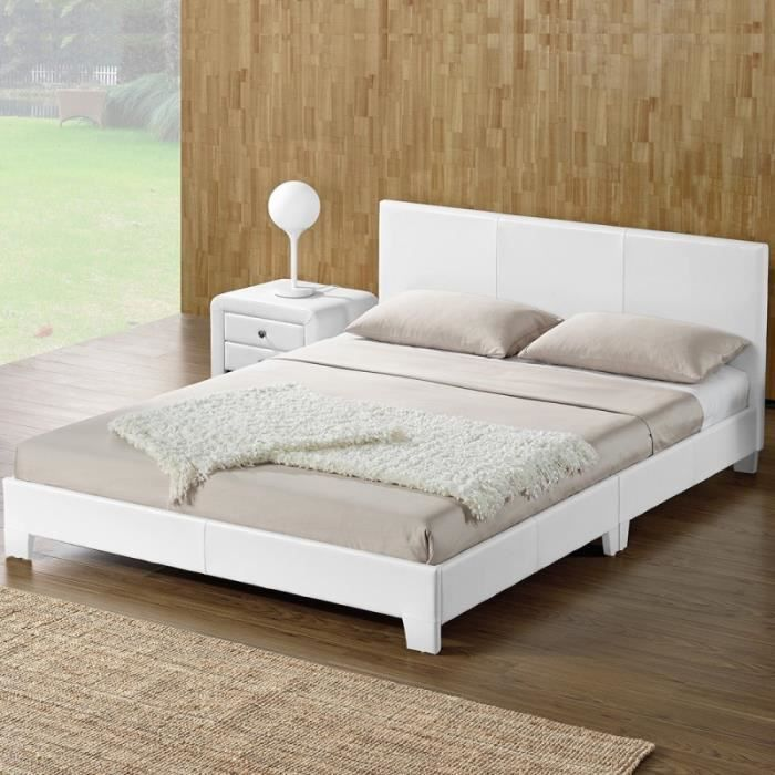 cadre lit blanc 160x200 achat vente pas cher. Black Bedroom Furniture Sets. Home Design Ideas