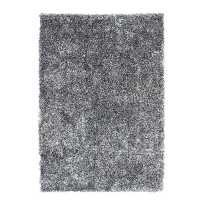 tapis shaggy uni gris 35 mm 120x170 cm achat vente. Black Bedroom Furniture Sets. Home Design Ideas
