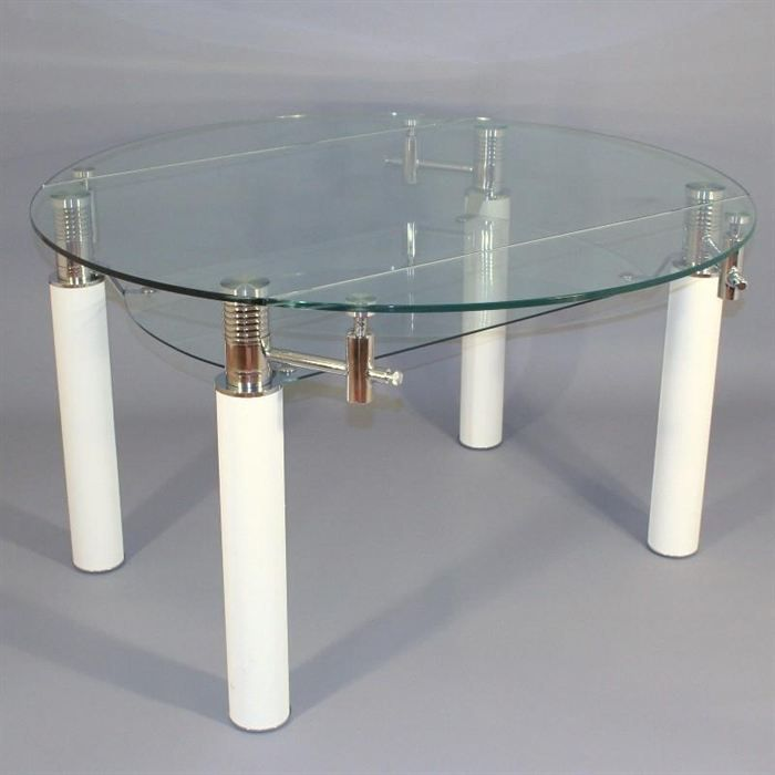 table en verre ronde rallonge extensible bianco achat vente table a manger seule table en. Black Bedroom Furniture Sets. Home Design Ideas