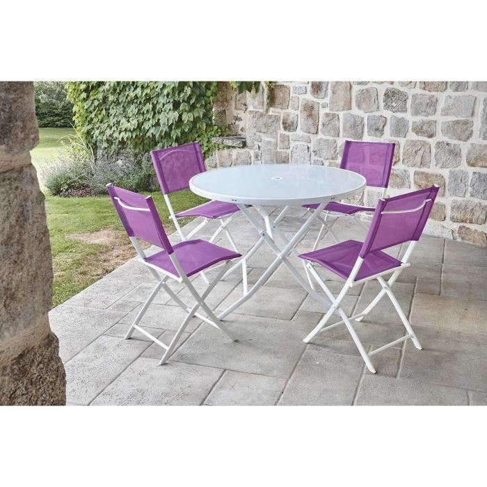 Ensemble de Jardin avec Table Ronde Aubergine D100 x 72 cm