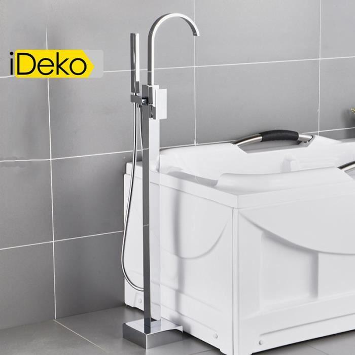 iDeko® Robinet de baignoire ilot sur Pied salle de bain douche verticale  sans Douchette Chrome