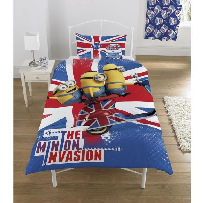 parure de lit minions londres despacable me achat vente parure de couette soldes cdiscount. Black Bedroom Furniture Sets. Home Design Ideas