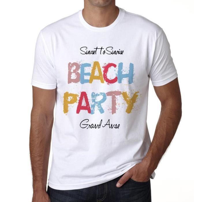 T-SHIRT Grand Anse, Beach Party Tshirt Homme Blanc Tshirt,
