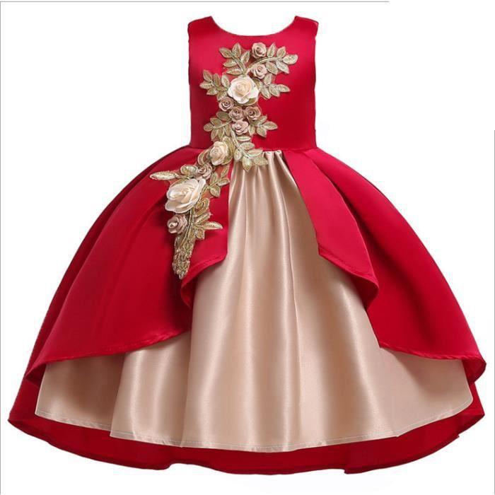 Robe De Filles Soiree Princesse Robes De Fete De Mariage Ceremonie Bapteme Fete Anniversaire Cocktail 3 8 Ans Rouge Achat Vente Robe De Mariee Cdiscount