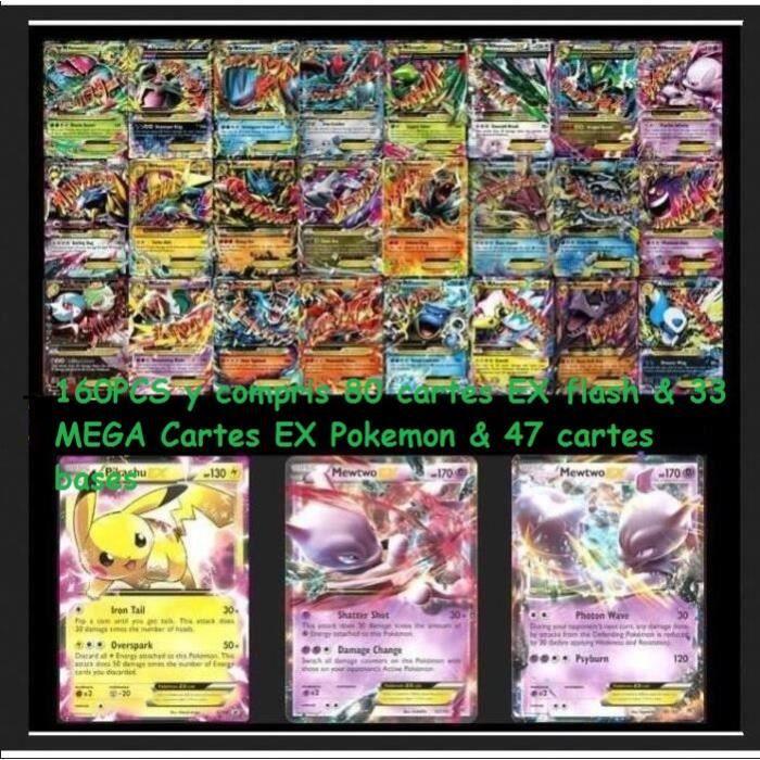 160pcs Pokemon Jeux De Cartes Pokemon Cartes Cartes Ex Flash