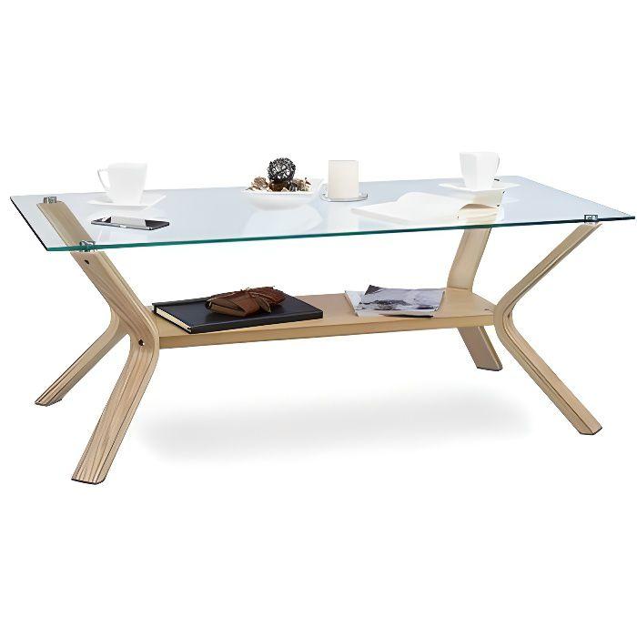relaxdays table basse plateau en verre 120 x 60 cm et bois rectangle table de salon chene 45 cm de hauteur design moderne nature