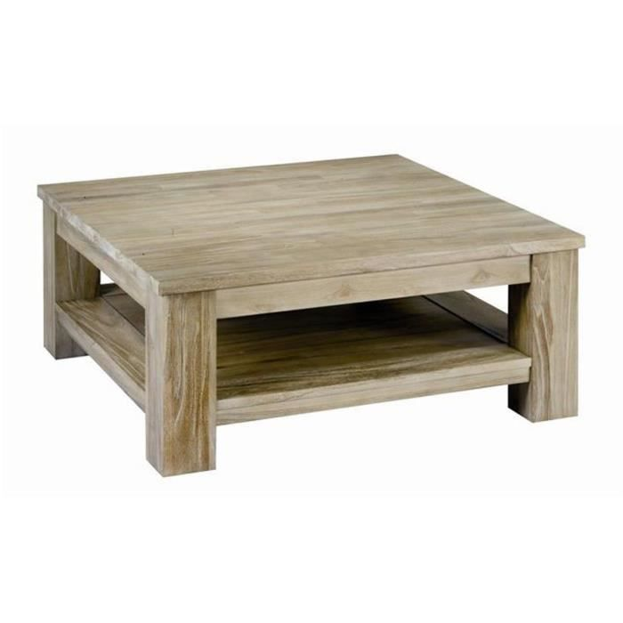 Table basse carr e en teck massif teint gris p achat for Table basse carree bois gris