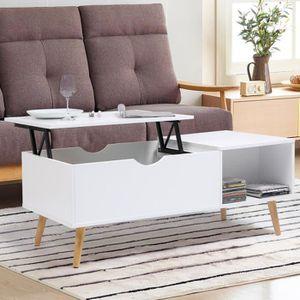 TABLE BASSE Table basse Effie plateau relevable bois blanc