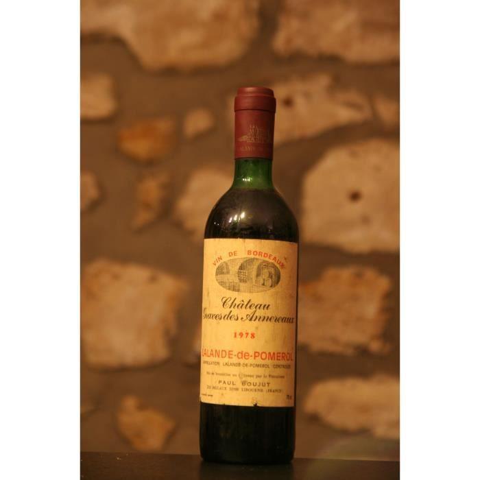 Vin rouge, Lalande Pomerol, Château Graves des Annereaux 1978 Rouge
