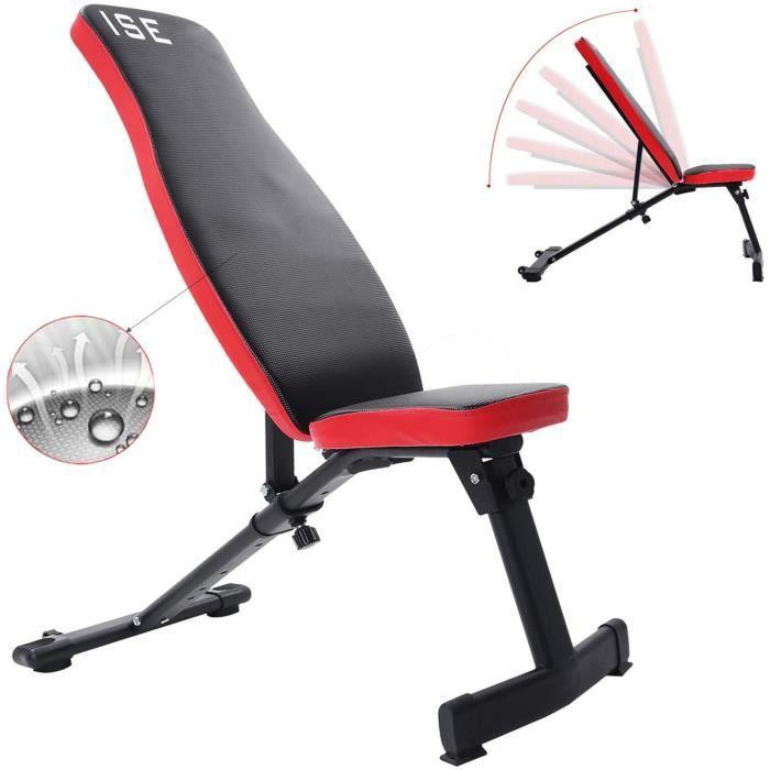 ISE Banc de Musculation Pliable Banc de Poids Réglable perméable à l'air Inclinable Exercice Gymnastique à Domicile, Dossier réglabl