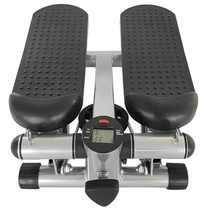 43 x 39 x 22 cm Mini Stepper Twister Fitness D'appartement Portantes Hydraulique 150kg Affichage Numérique Réglable Noir/Gris