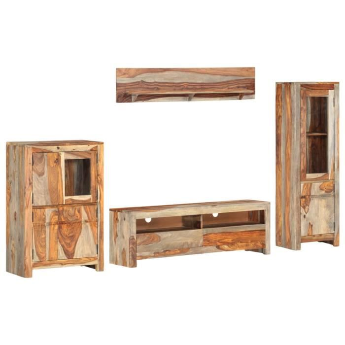 Ensemble de meuble TV 4 pcs Complet de vitrine murale Bois solide