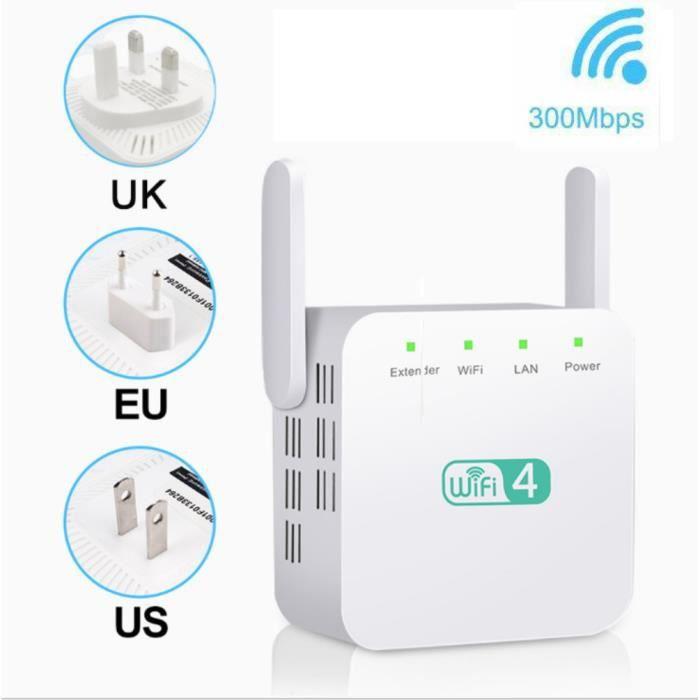 Extension de portée WiFi 300M, amplificateur de signal WiFi et répéteur - amplificateur sans fil Sji Zua 12