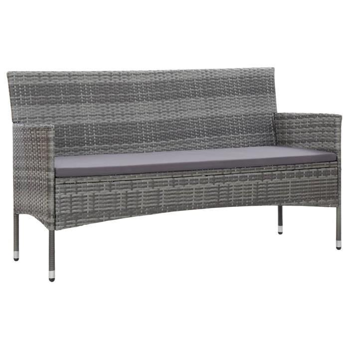 Canapé de jardin à 3 places avec coussins Gris Résine tressée