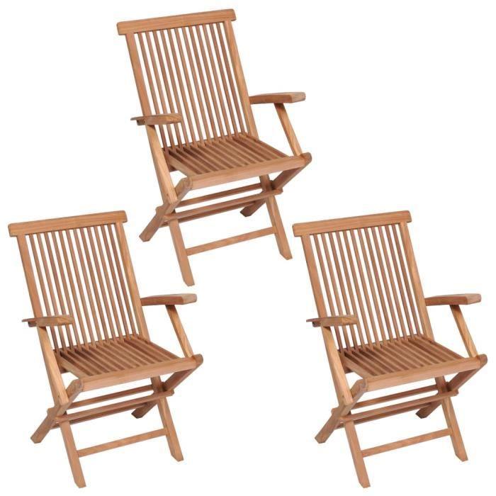 Déco Lot de 3 Chaises de jardin pliables Contemporain - Fauteuil de Jardin Chaise d'extérieur Bois de teck solide - 9674