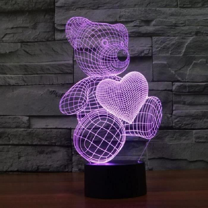 Creative 3D ours mignon LED 7 couleurs Changement Touch Control Night Light Bureau Table lumineuse Lampe