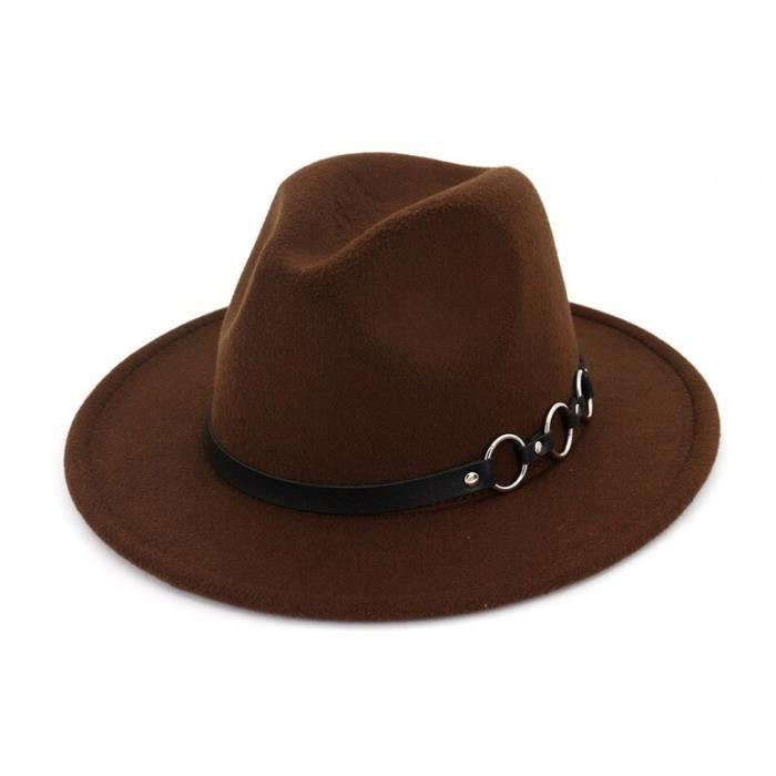 Coffee 56to58cm -QBHAT – chapeau en feutre de laine pour femmes et hommes, Style européen, Style Jazz, chapeau à large bord, Panama,