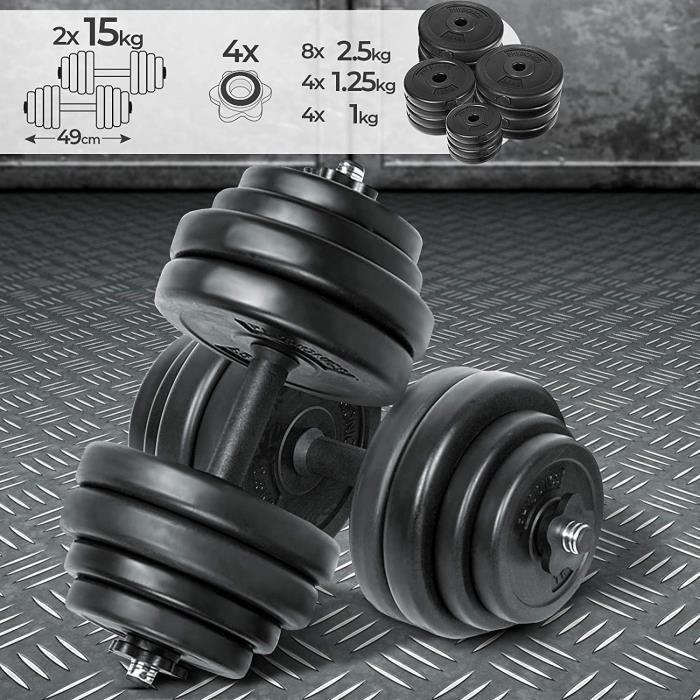Haltère-Poids de Musculation - 30 kg- avec Revêtement en Plastique- 2 Barres Courtes en Acier et 4 Fermoirs en Forme d'Étoil[362]