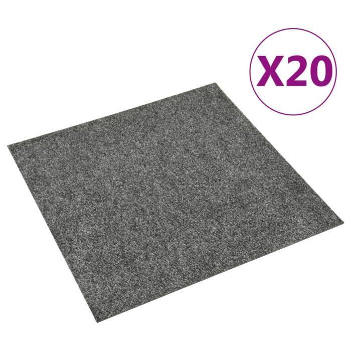 Dalles de tapis de sol 20 pcs 5 m² Gris foncé @TXY159