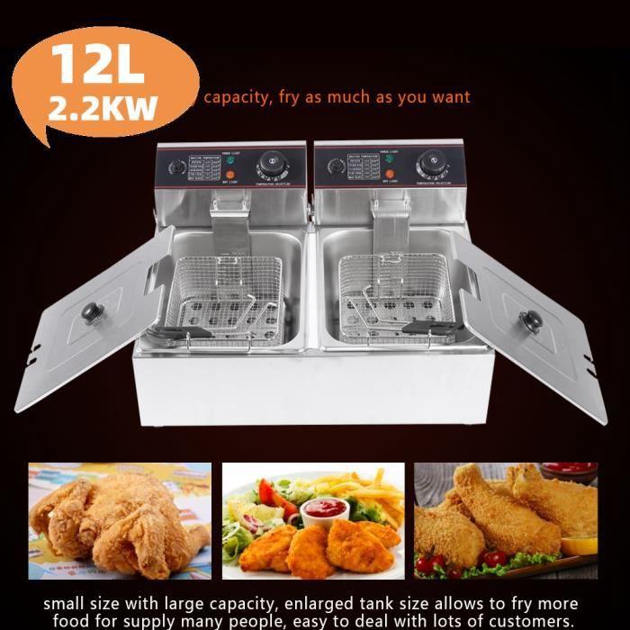 Friteuse électrique cuve inox doubles thermostats 12L Family Fryer -ALA