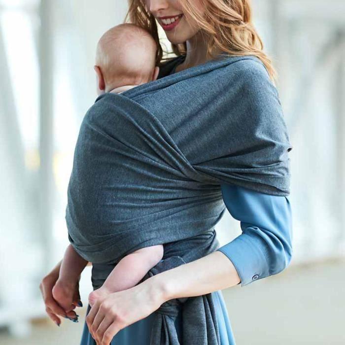 Echarpe de portage réglable Porte bébé Gris fonce