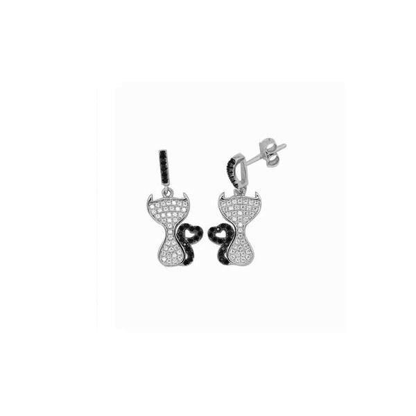 Boucles d'oreilles Chat et Coeur en Argent et 114 Cristaux Swarovski Cubic Zirconia Noirs et Blancs