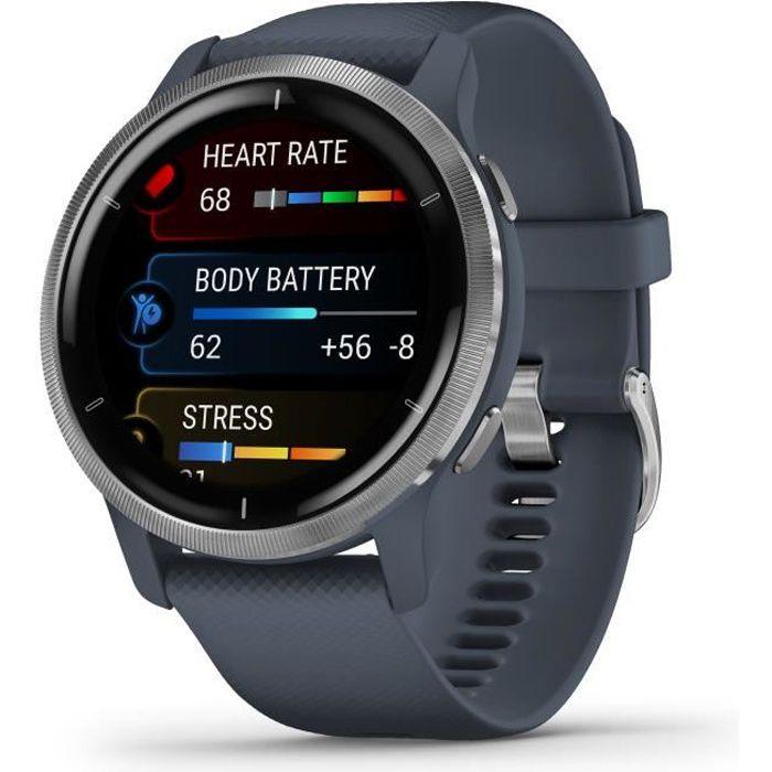 Garmin - Venu 2 - Montre connectée GPS Multi-sports & Santé - Autonomie Longue Durée - Bracelet Bleu Gris & Silver