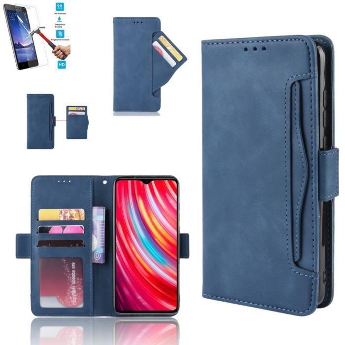 Etui Samsung Galaxy A21s Portefeuille Bleu + Film Verre Trempé Coque Housse En Cuir Pu - 5 Emplacement Cartes hfs-house®