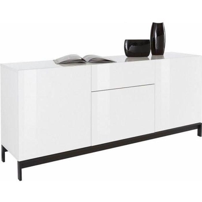 Buffet design METIS 170 cm Finition blanc laqué brillant 3 portes 1 tiroir blanc MDF Inside75