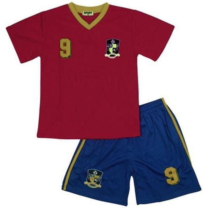 Ensemble De Vetements De Football - Tenue De Football - NPZ - Ensemble short et maillot de foot Espagne news Taille de 2 à 14 ans