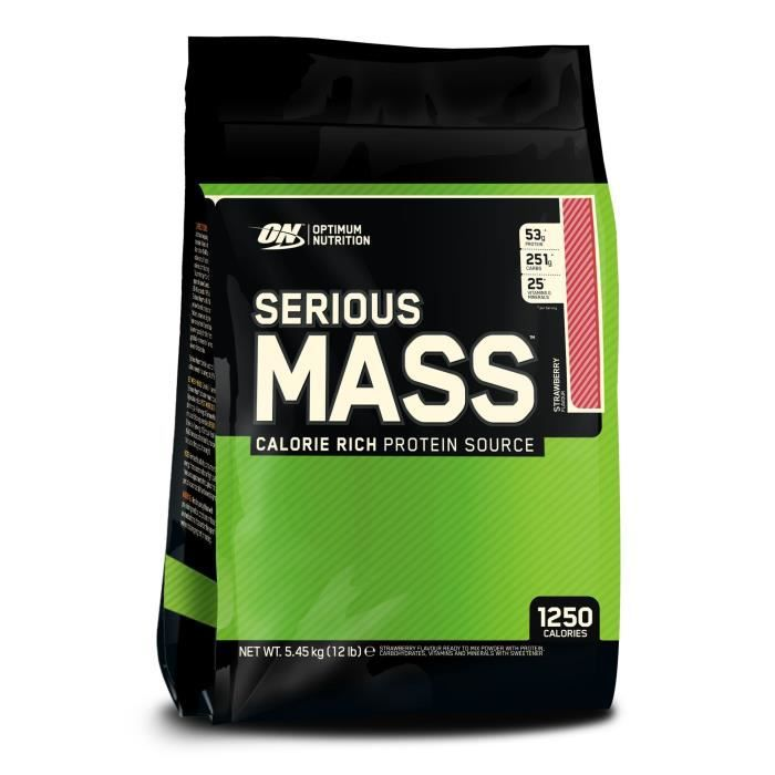 OPTIMUM NUTRITION Pot Serious Mass Fraise - 5,6kg