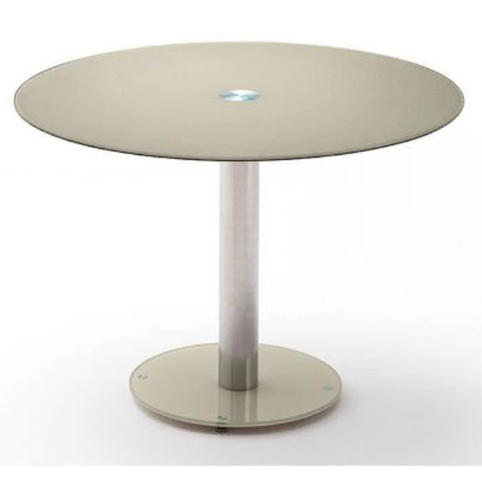Table à manger en métal et verre de sécurité taupe - L.100 x H.77 x P.100 cm