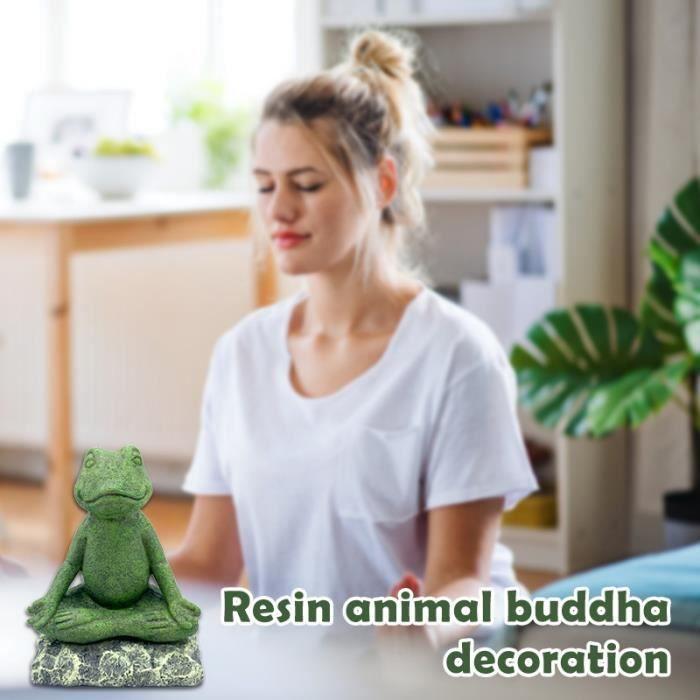 Statue de grenouille de méditation de yoga, décoration d'art, statue d'animal en résine, figurine décorative assise en méditation