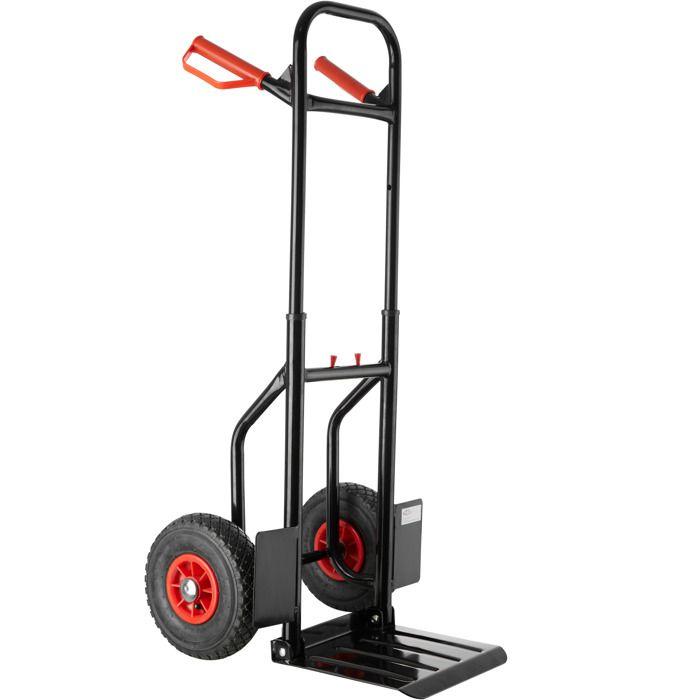 TECTAKE Chariot de Transport, Diable de Manutention Charge 100 Kg Pliable en Acier Roues Pneumatiques 53 cm x 49 cm x 112,5 cm Noir