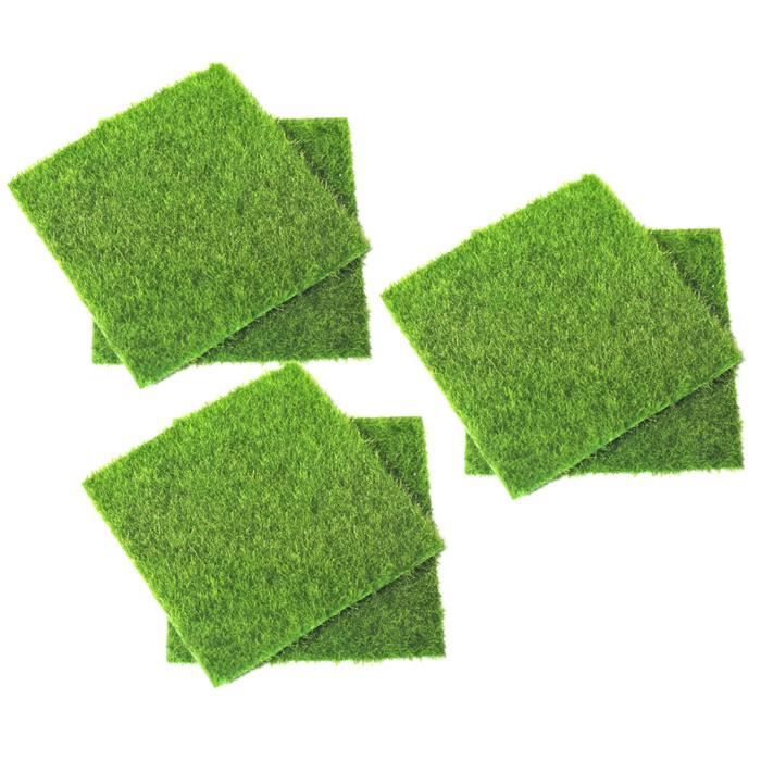6 pcs Gazon Artificiel Sûr Mousse Décorative Décoration Simulation Pelouse Miniature Ornement pour Patio Jardin BASKET