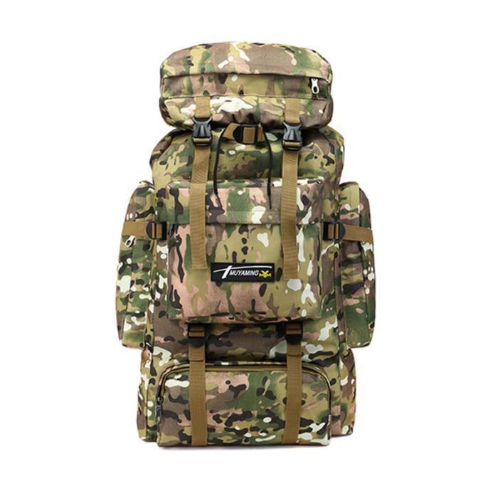 Sac A Dos de Randonnée 70L Multi-Poches Imperméable Activités Extérieurs Camouflage