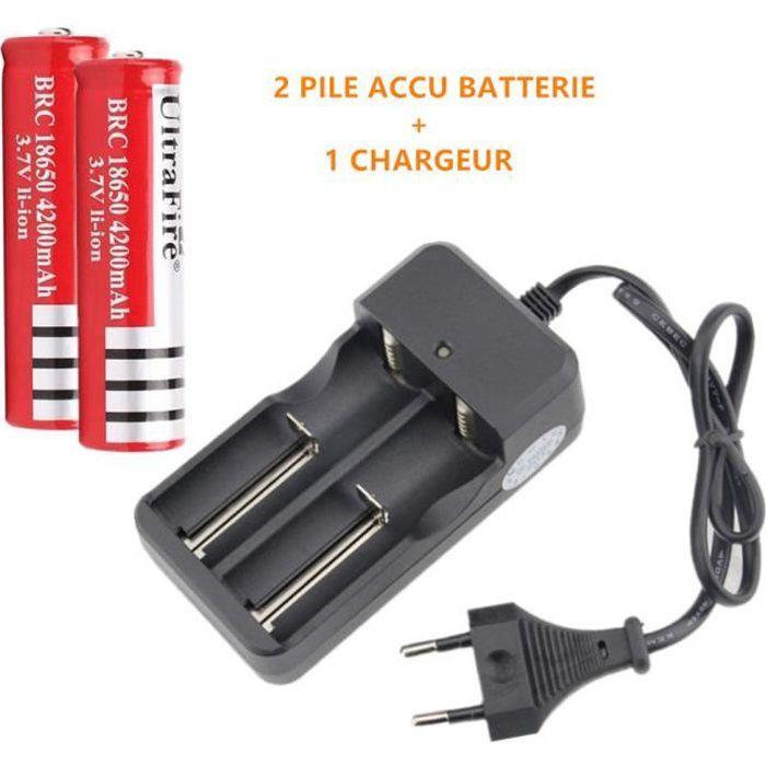 1 chargeur pour 2 Li-Ion-batterie /'s 4 Batterie/'S 18650 Li-Ion 9900 mAh