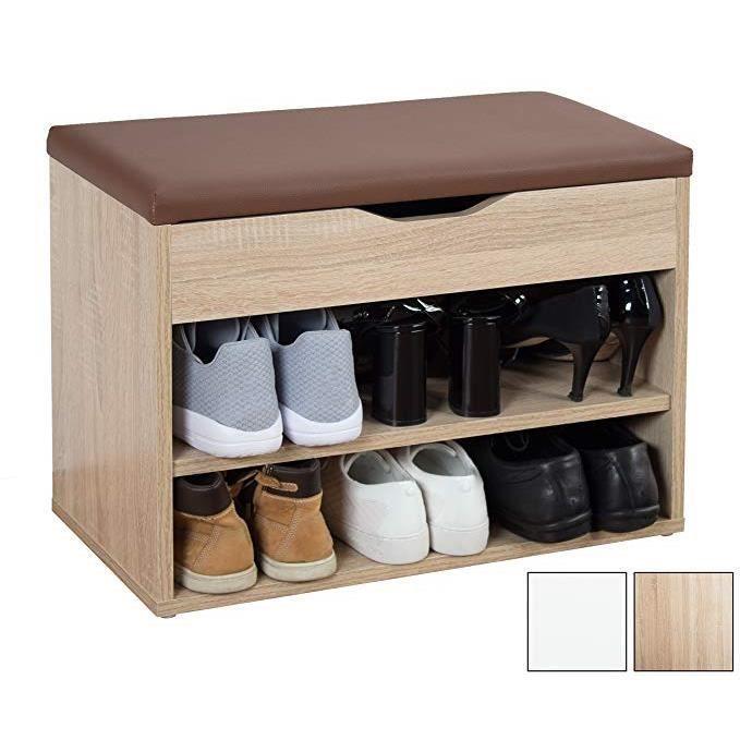 Banc de Chaussures Range-Chaussures avec Coussin de Si/ège Moelleux Combine Fonction de Rangement et Confort des Chaussures /à Langer Banc de Rangement /à Chaussures 60 x 30 x 43 cm HDF et PU Blanc
