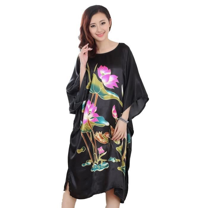 femmes l che pyjama chemise de nuit robe de nuit de bain peignoir el gant lotus noir noir noir. Black Bedroom Furniture Sets. Home Design Ideas