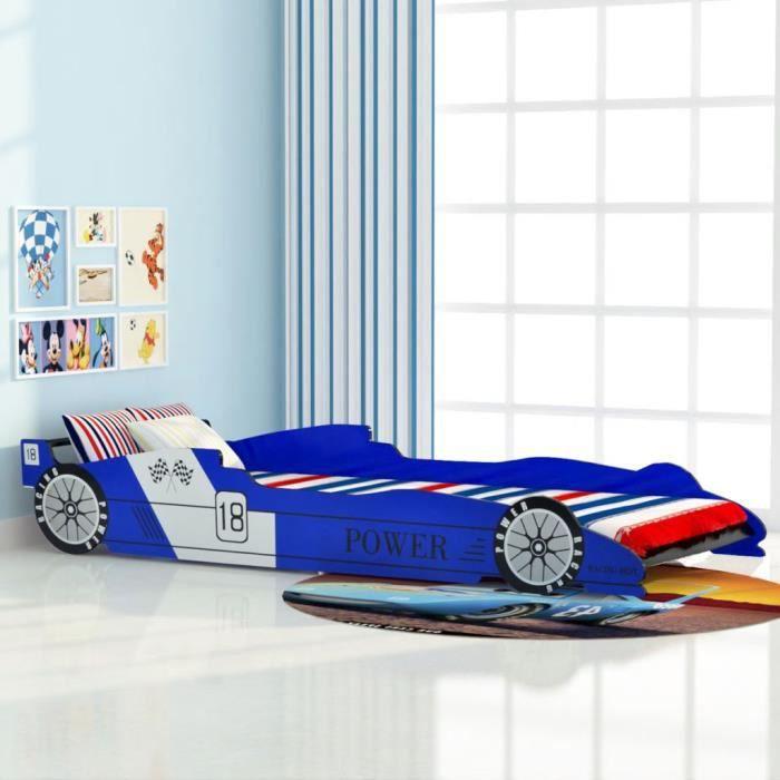 STRUCTURE DE LIT Lit voiture de course pour enfants 90 x 200 cm Ble