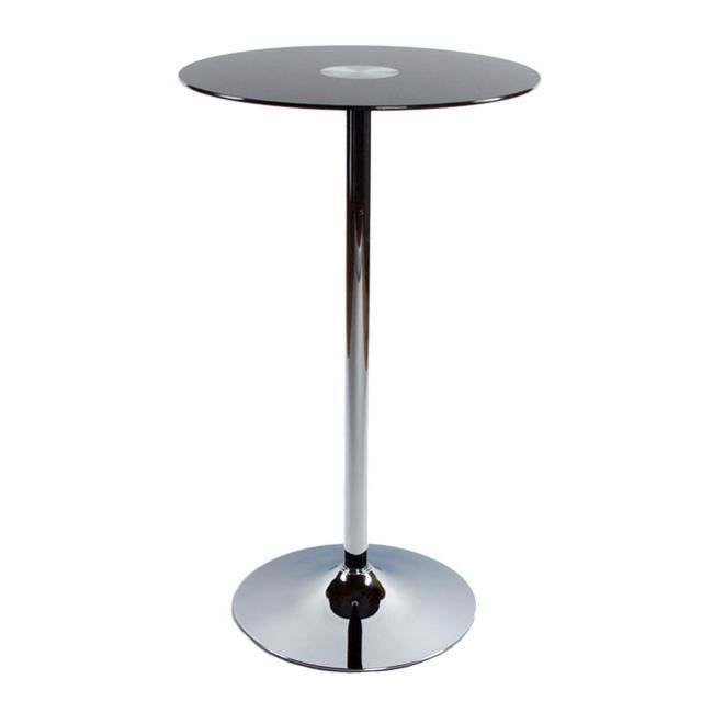 Table de bar plateau en verre noir trian achat vente mange debout table d - Table de bar en verre ...