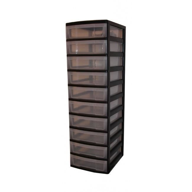 tours de rangement dix tiroirs tour de rangement noir. Black Bedroom Furniture Sets. Home Design Ideas