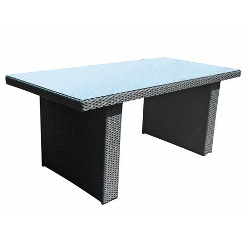 Table de jardin barbados r sine tress e et alu achat vente table de jar - Table de jardin tressee ...