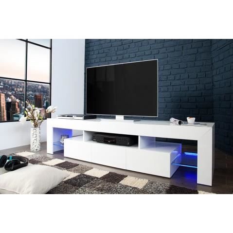 meuble tv a led blanc laque 3 tiroirs inglourious 180 cm achat vente meuble tv meuble tv a. Black Bedroom Furniture Sets. Home Design Ideas