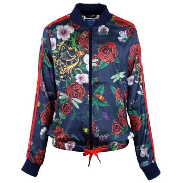 adidas originals veste rita ora femme bleu et multicolore achat vente veste de sport les. Black Bedroom Furniture Sets. Home Design Ideas