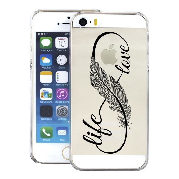 coque iphone 5 transparente avec plume