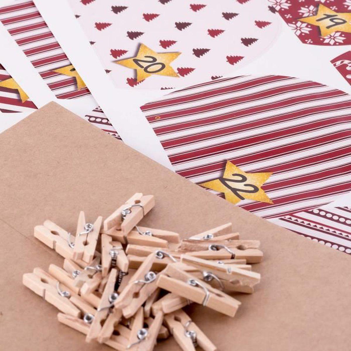 Calendrier De L Avent À Fabriquer Soi Même calendrier de l'avent pajoma à fabriquer soi-même, avec 24 chouettes rouges  de noël en papier kraft à garnir, avec autocollants