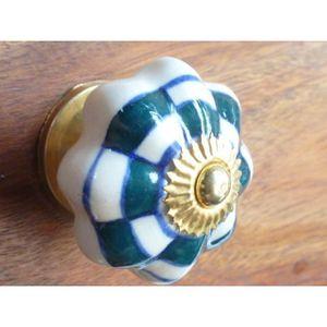 POIGNÉE - BOUTON MEUBLE Boutons porcelaine damier vert