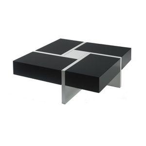 TABLE BASSE Table basse carrée laque noire + laque blanche - Q