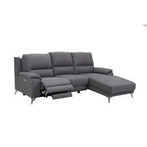 CANAPÉ - SOFA - DIVAN LORE - Canapé d'angle relax gris avec méridienne à